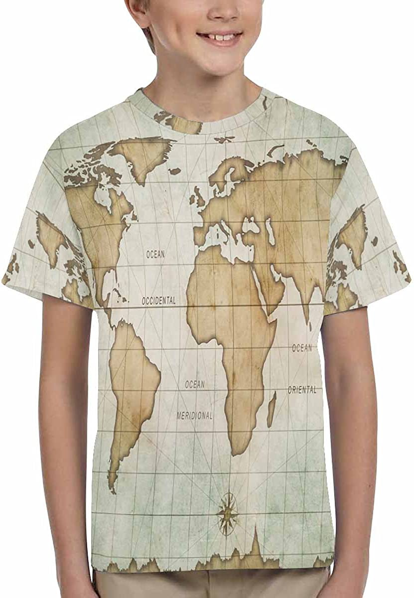 XS-XL INTERESTPRINT Aged Old World Map Unisex Kids T-Shirts