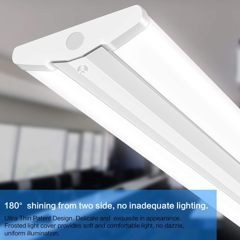 AntLux 4FT LED Wraparound Light Fixture 50W Ultra Slim LED Shop Lights for Garage, 5500 Lumens, 4000K Neutral White, 4 Foot Flush Mount Office Ceiling LED Wrap Light for Workshop Kitchen, 8 Pack by ANTLUX (Image #4)