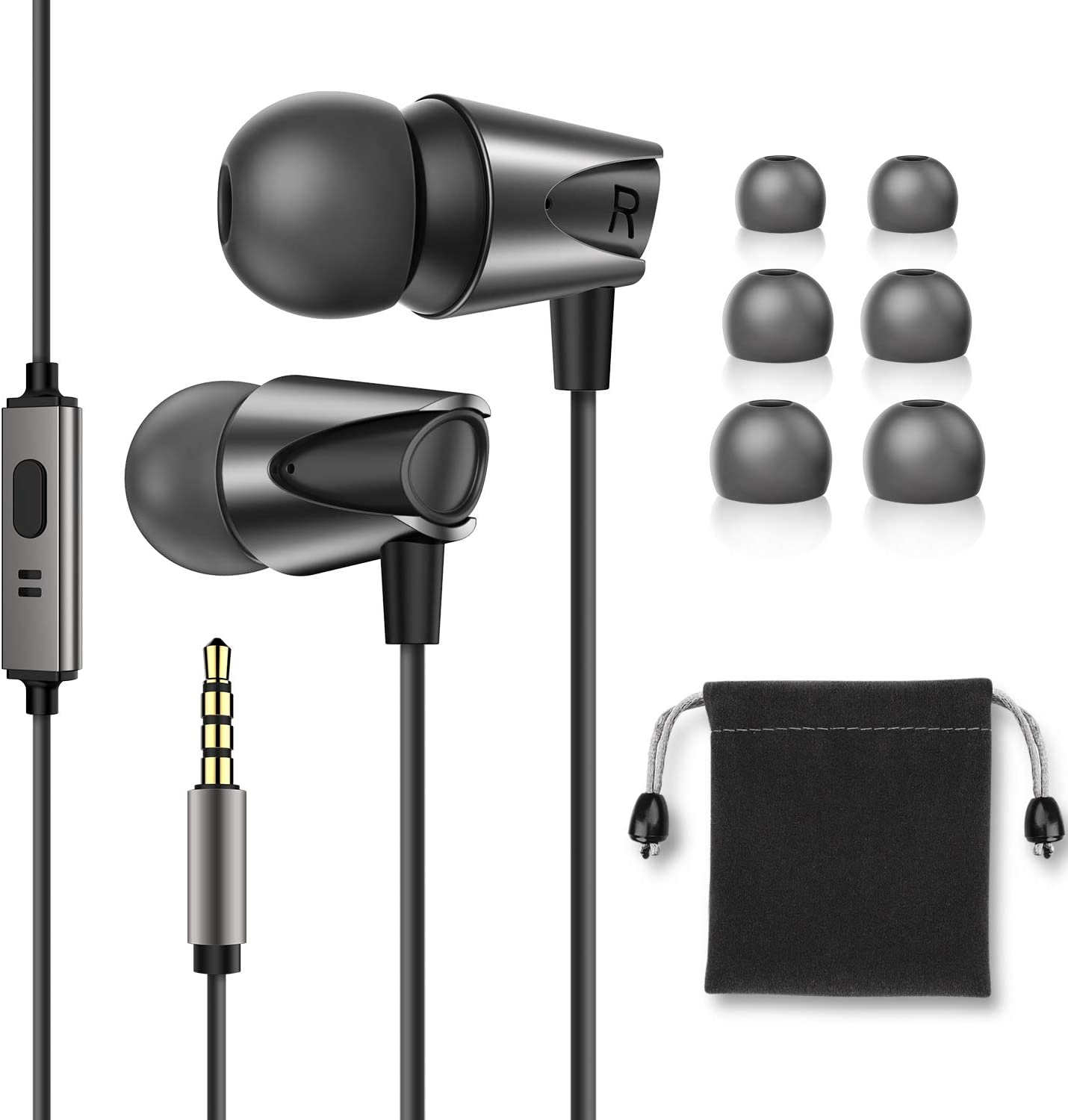 3.5MM Bass Headphones With Mic Wired Earphone Headset For PC SmartPhone MP3
