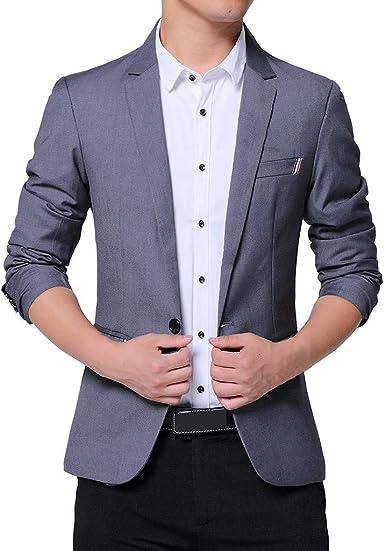 MrTom Chaqueta de Traje para Hombre Blazer de Negocios Boda Fiesta Casual Slim Fit Trajes de Vestir Americanas Un Botón Chaquetas de Esmoquin Formal Elegante Abrigo Camisas Tops: Amazon.es: Ropa y accesorios