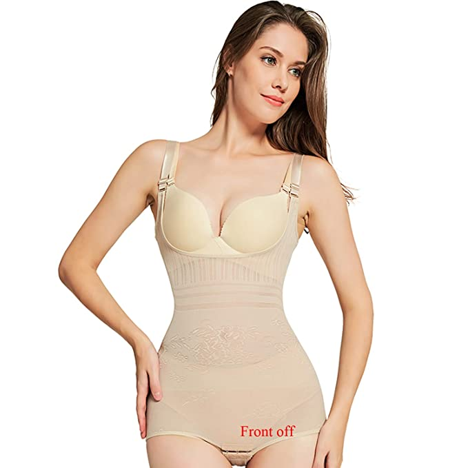 d21e03e9258 Queenral Slimming Underwear Jacquard Bodysuit Body Shaper for Women Tummy  Beige