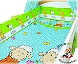 BlueberryShop 2 pcs BABY COT BED BUNDLE BEDDING SET DUVET+PILLOW COVERS matching cot bed 120 x 150 cm (47'' x 59'') (0-7Yrs) (150 x 120 cm) Blue Sheep