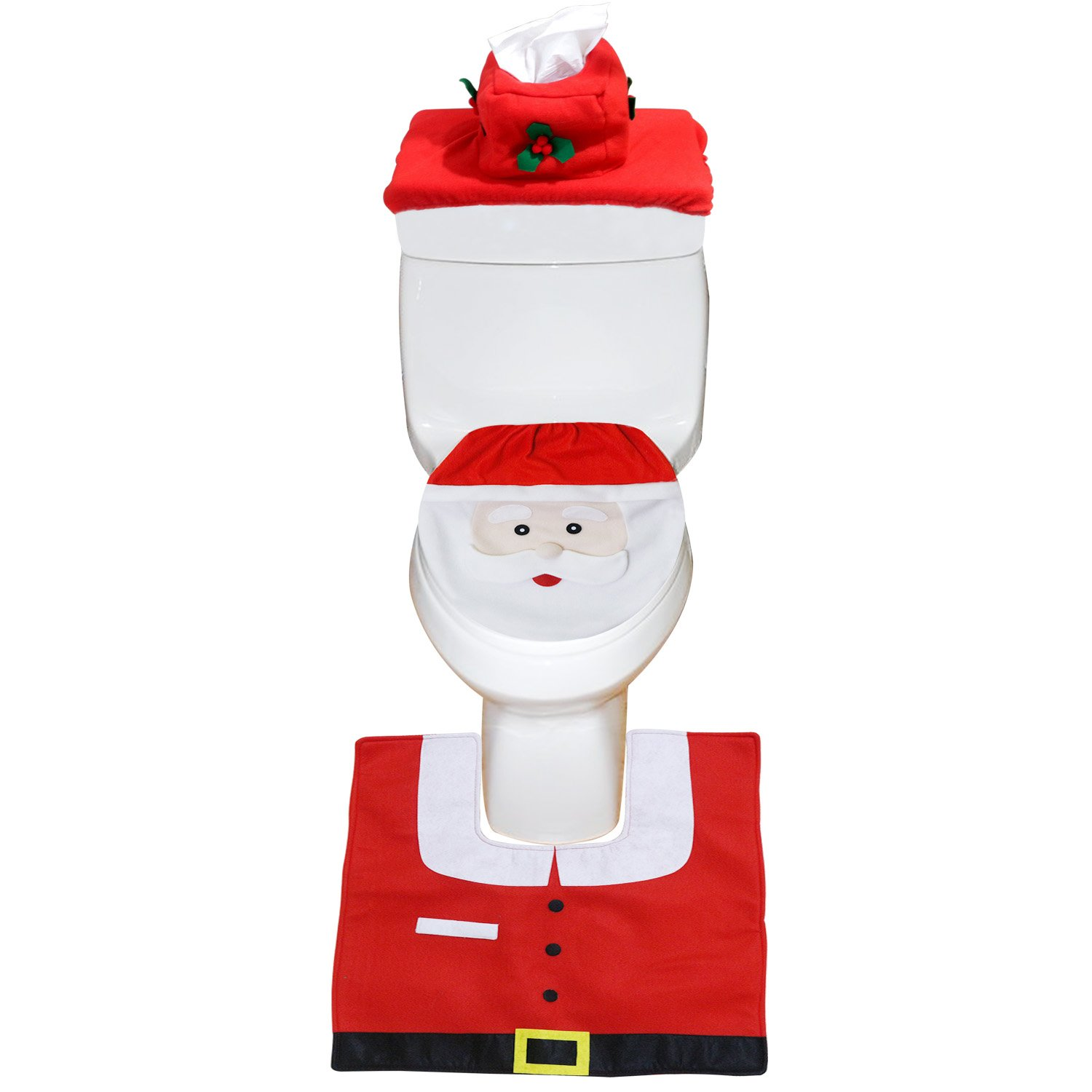 Mosoan Happy Santa Toilet Seat Cover and Rug Set Red - Christmas Bathroom Decorations - Set of 3