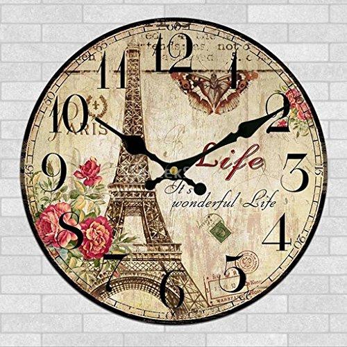 It's Wonderful Life Wood Clock Non-Ticking Silent Paris Eiffel Tower Wall Clocks Quartz Watch Cafe Bar Home Decor Gift 12 (Walnut Wine Tower)