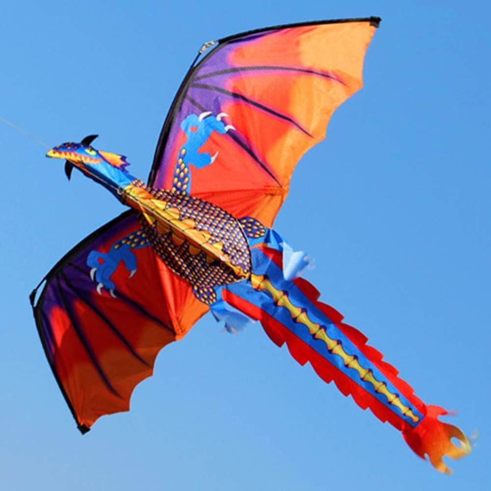 0Miaxudh Cometa, Cometa voladora de dragón 3D de Colores para Exteriores con línea de Cola de 100 m, Juguetes Infantiles