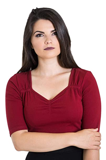 3b2412980cc5a3 Hell Bunny Philippa Vintage Style Jersey Top (Burgundy, M) at Amazon  Women's Clothing store: