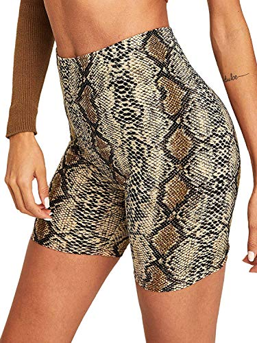 Women's Snakeskin High Waist Yoga Short Tummy Control Workout Biker Shorts (Snakeskin,M)