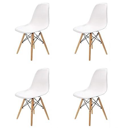 Comfortableplus Juego de 4 sillas de Comedor Retro Asiento de plástico y Las piernas de Madera para el Comedor Dormitorio Cocina Blanco
