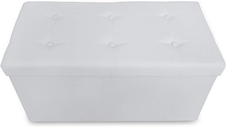76 x 38 x 38 cm Bianco Ottomana Pieghevole per Conservare Materiale: Finta Pelle Cucita e con Finitura Trapuntata Carico Massimo: 150 kg Panca Pieghevole in Pelle Todeco