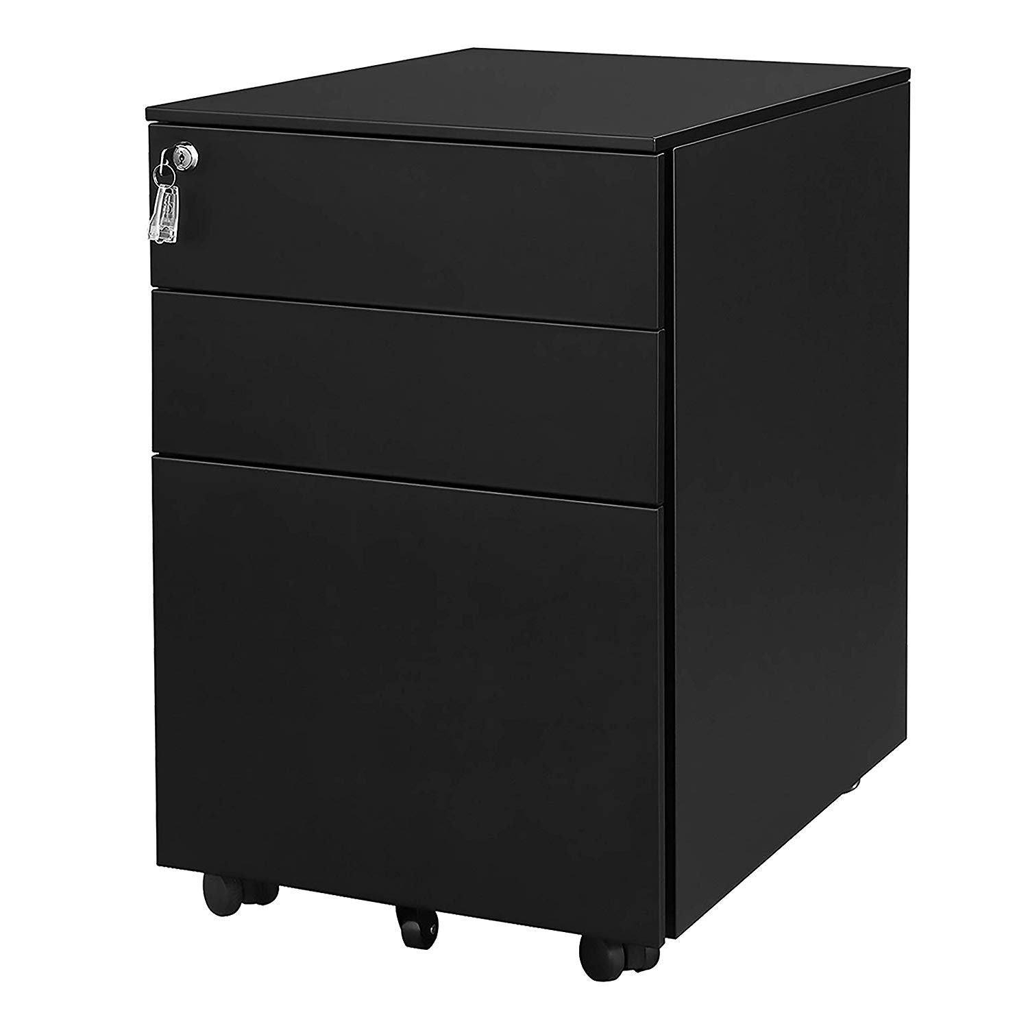 3 Drawer Metal Mobile File Cabinet with Lock Fully Assembled Except Casters (Black) by Bartfort