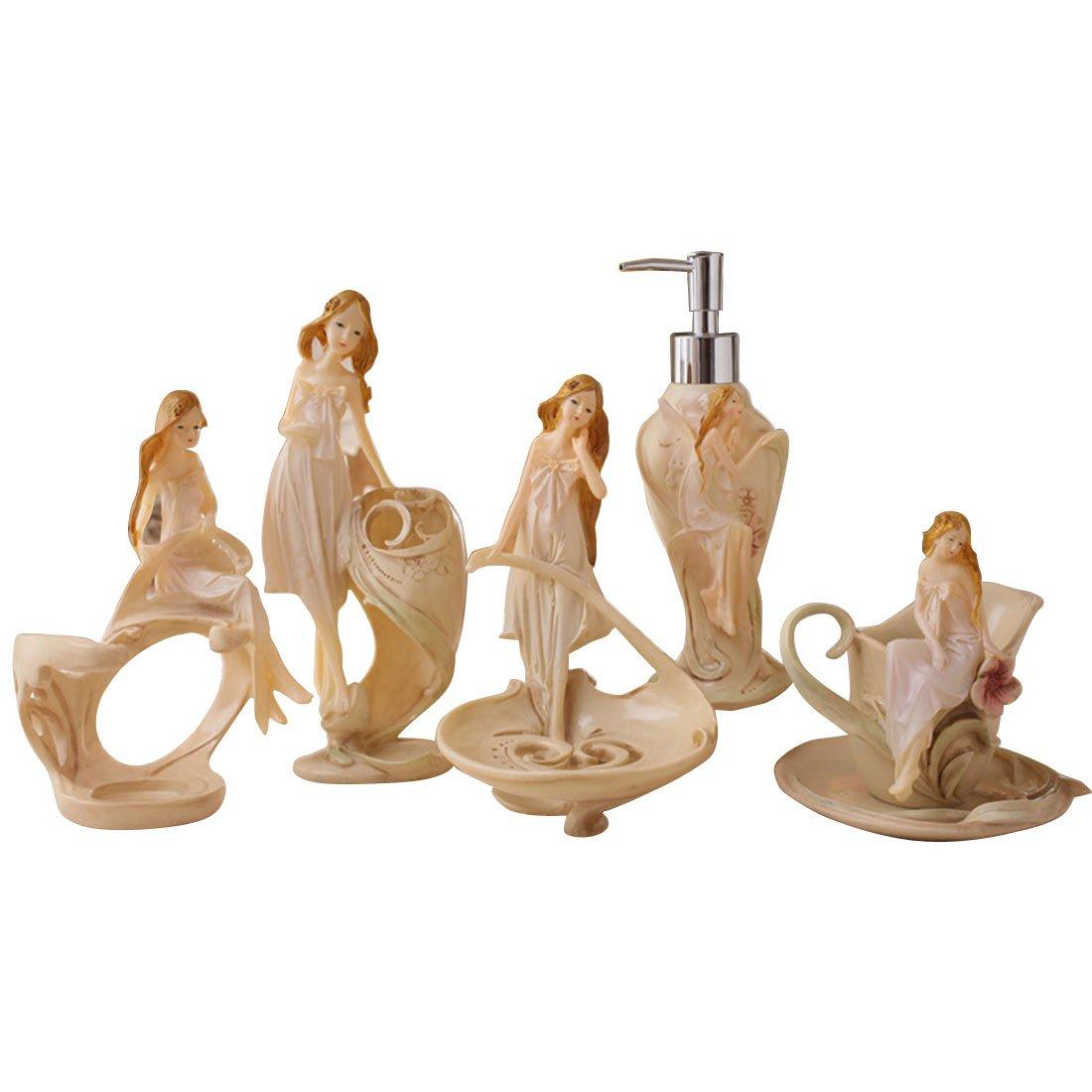 CATYAA フラワーフェアリービューティバスルームセット 5のバスルームセット ホームバスウォッシュセット 樹脂工芸バスルーム製品 (Color : Flower Fairy Beauty Bathroom Set) B07HSXCD3G Flower Fairy Beauty Bathroom Set