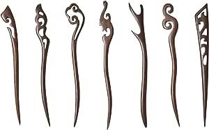 Black Sandalwood Bun Pin Wedding Selection Bell Orchird Chinese Tradition Dangle Hair Stick ebony wood hair stick handmade hair clip