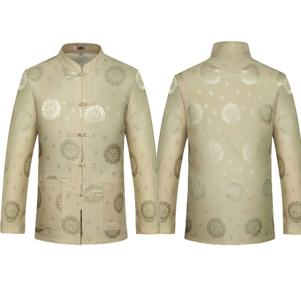 Tang Suit Men Traditional Chinese Clothing Suits Hanfu Cotton Short sleeve shirt coat Mens Tops and pants (XL, Beige) by Airuisky (Image #5)