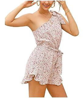 GAGA Womens Casual Loose Off Shoulder Jumpsuit Rompers Elastic Waist Playsuit