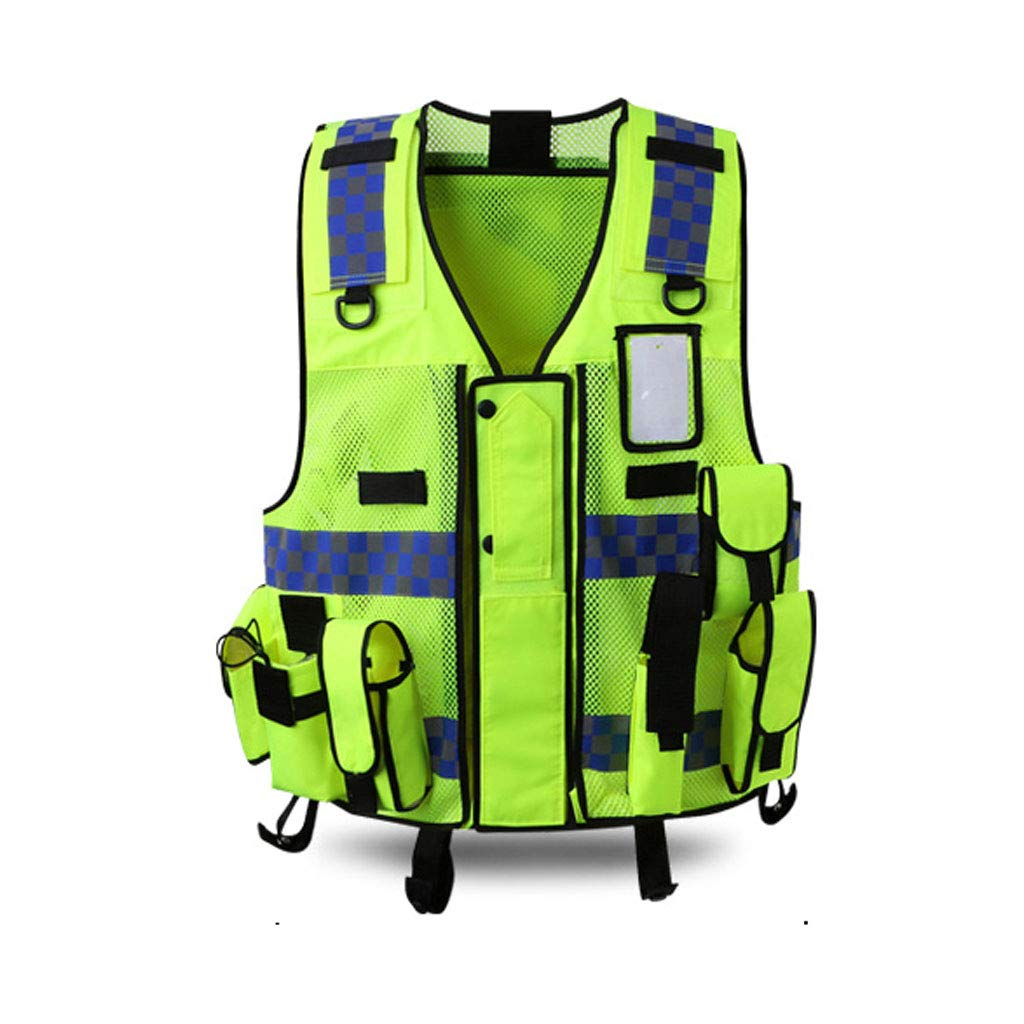 WBBFGF Multi-Functional Reflective Vest, Multi-Pocket Vest Traffic Motorcycle Riding Reflective Traffic Clothing Safety Clothing Fluorescent Yellow (Size : 2 Packs) by WBBFGF (Image #1)