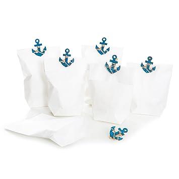 6 pieza blancas bolsas de papel como regalo del paquete: 6 ...