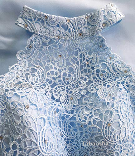 Two diydressonline Homecoming Pieces Short Lace Dress Halter Libaosha Dresses Prom Blue Satin Tq0wnUR