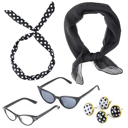 a55e2fc6b1e8 Beelittle 50 s Costume Accessories Set 1950 s Chiffon Scarf Cat Eye Glasses  Bandana Tie Headband Drop Dot
