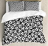 Sports Decor King Size Duvet Cover Set by Ambesonne, Composed of Many Soccer Balls Competition Hobby Leisure Abstract Art, Decorative 3 Piece Bedding Set with 2 Pillow Shams