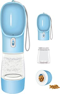 Cappaw Dog Water Bottle for Walking, Portable Dog Water Dispenser, Multifunctional and Detachable Design Combo Food Container, Pet Travel Camping Gear Accessories for Outdoor Hiking(Blue)