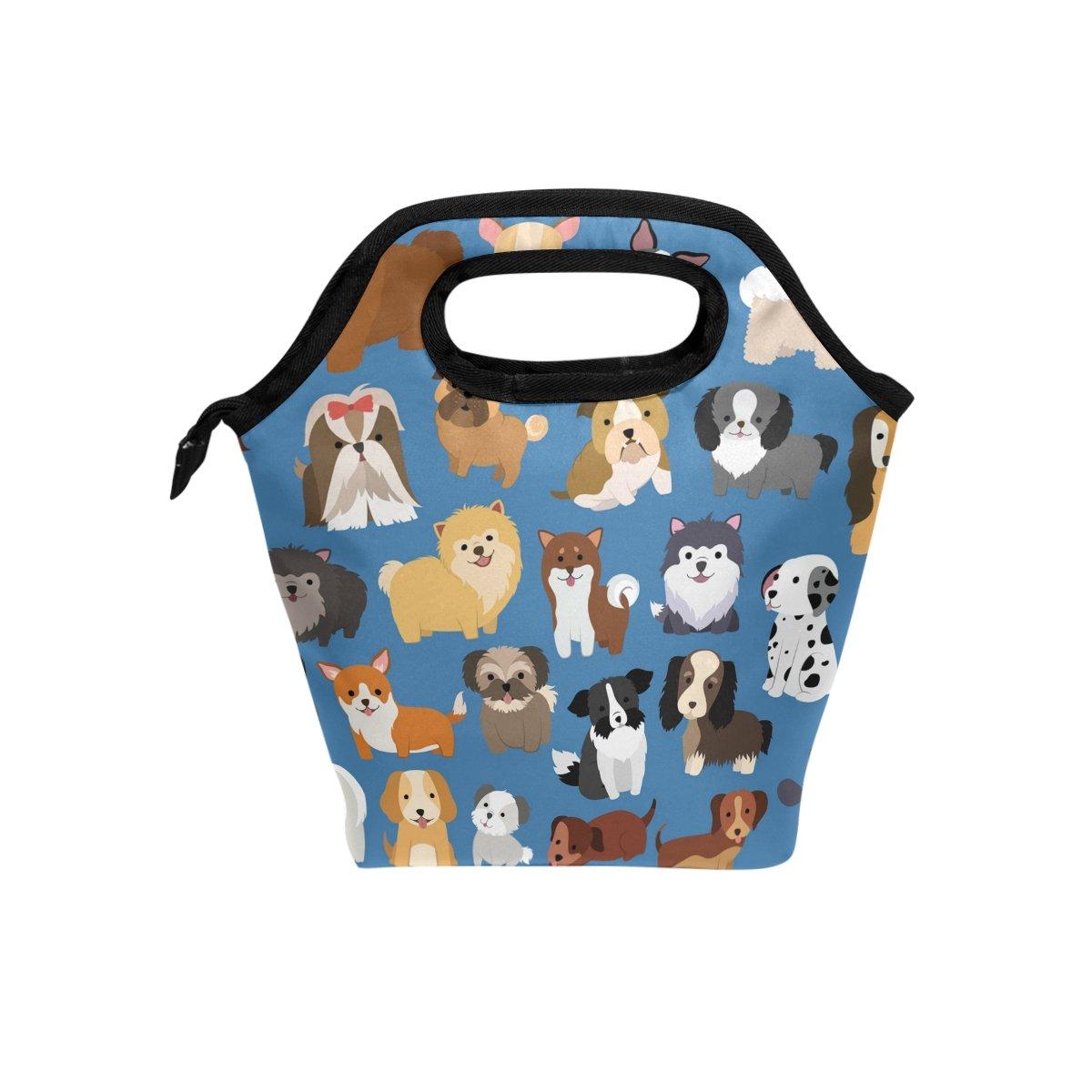 Naanle simpatico cane e cucciolo borsa termica per il pranzo in tela con cerniera Cooler Tote bag per adulti adolescenti bambina bambino unisex, Animal Dog lunch box portapranzo pasto Prep borsetta per esterni scuola ufficio
