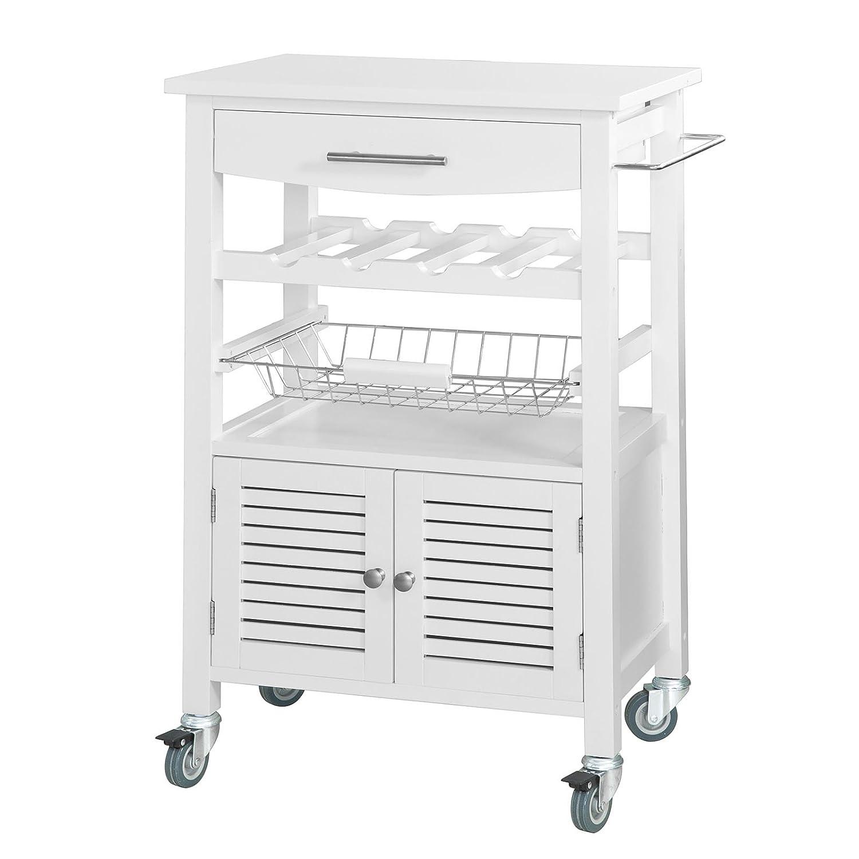 SoBuy® FKW09-W Desserte de cuisine de service - Chariot de cuisine Roulant - Meuble de rangement à roulettes - L58xH