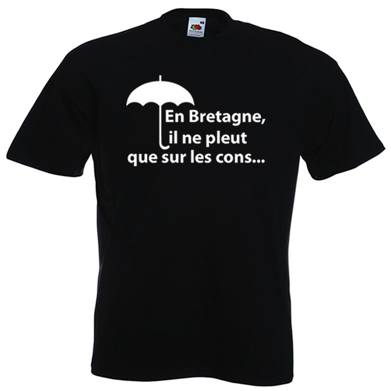 t,shirt breton humour En Bretagne, Il Ne Pleut Que Sur Les Cons