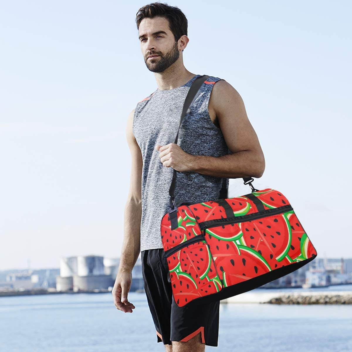TFONE Summer Watermelon Red Fruit Duffel Bag Sports Gym Weekend Bags with Shoe Compartmen