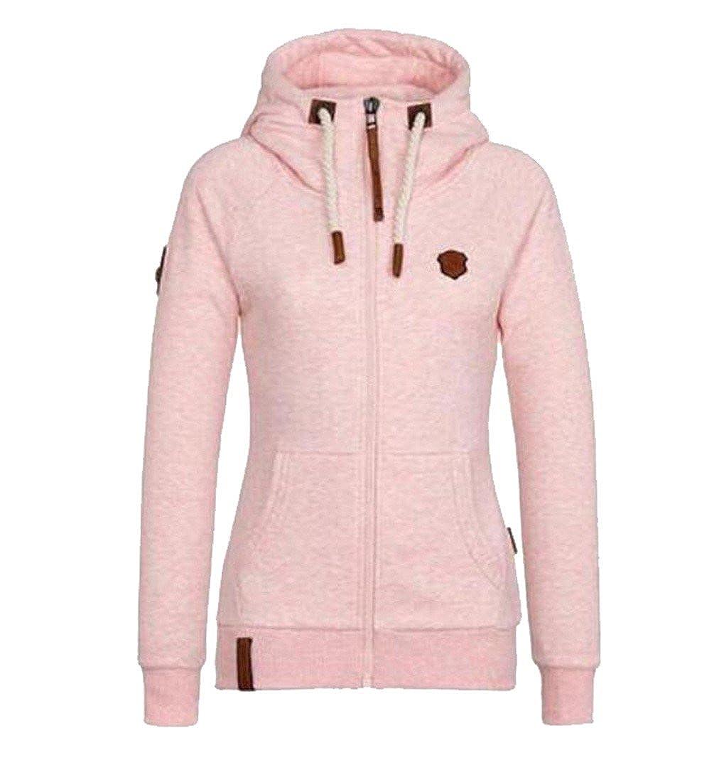 Womens Full Slide Zip Up Fleece Hoodie, Fashion Sweater /Sweatshirt Jacket Pink XL 10-a-0822-14-Pink 5XL
