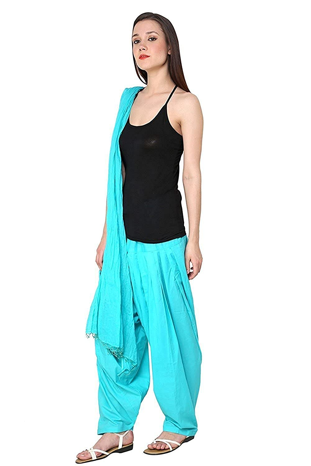 || Green World Fashion || (Sky Blue) Indian Readymade Patiala Salwar Dupatta Set Perfect for Party, Wedding & All Occasions (fit with Kurta, Suits, Kurte, T-Shirts Etc.)