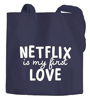cf22c82a9ee70 Amazon.de  Jutebeutel Netflix is my first love Serienjunkie chillen gammeln Baumwolltasche  Stoffbeutel Tragetasche Moonworks® navy unisize