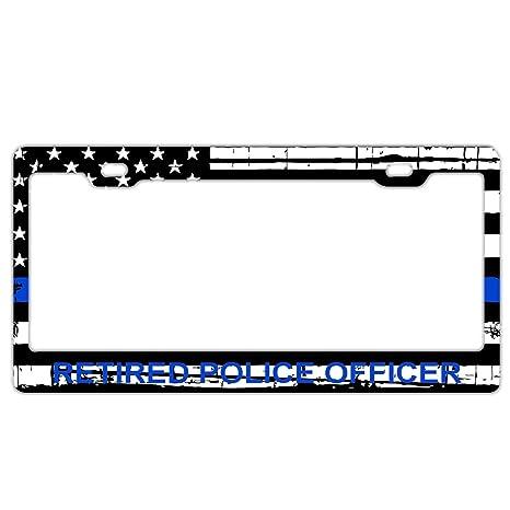 Retired Police Officer License Plate Frame Tag Holder