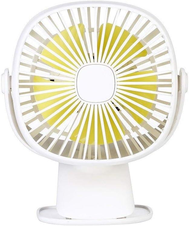 2019 nuevo ventilador de clip de lámpara de mesa cuadrada ventilador de clip de escritorio ventilador de clip de luz nocturna ventilador de colocación conveniente (color : Blanco)