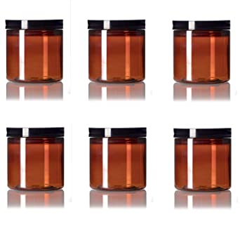 Premium Vials 8 oz Clear Plastic Jar with Black Lid Pack of 16