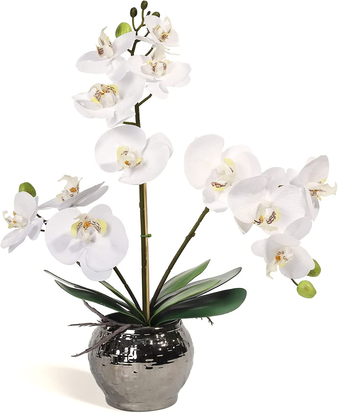 White Orchid Fake Orchids Orchid Flower Faux Orchid Plant in Pot Fake Flower Decor for Kitchen Decoration Home Decor Party Office Table Centerpieces Flower Arrangements Hotel Indoor