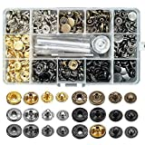 120 Sets Snap Fasteners Kit, 12.5mm Metal Snap Buttons Press Studs with 4 Pieces Fixing Tools, 6 Color Clothing Snaps Kit for Thin Leather, Jacket, Jeans Wear, Bracelet, Bags