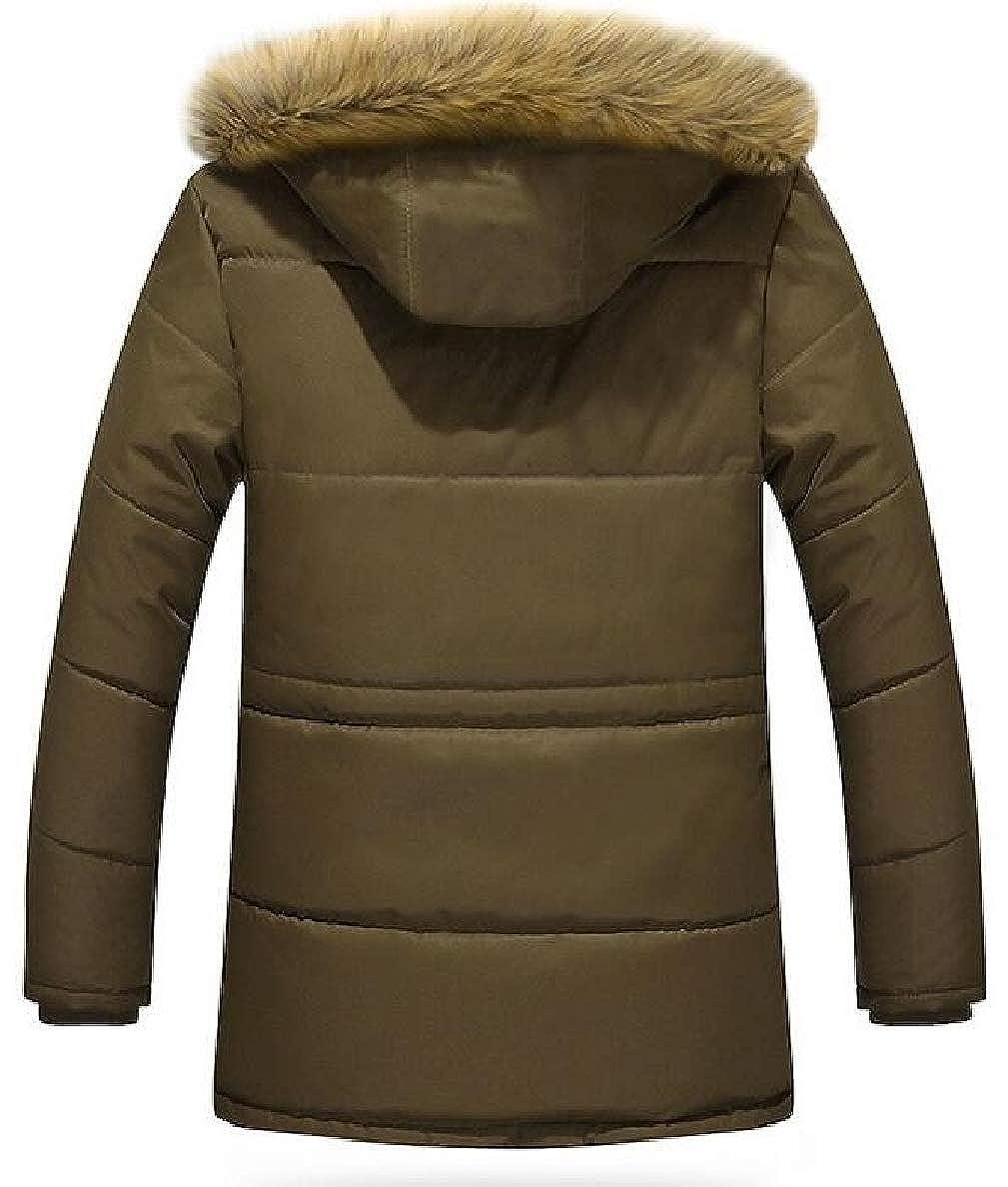 Tymhgt Men Warm Faux Fur Hooded Fleece Lined Padded Parka Outerwear Coats