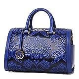 QZUnique Women's Fashion Chinese Style Elegant Empaistic Top Handle Cross Body Shoulder Bag Blue