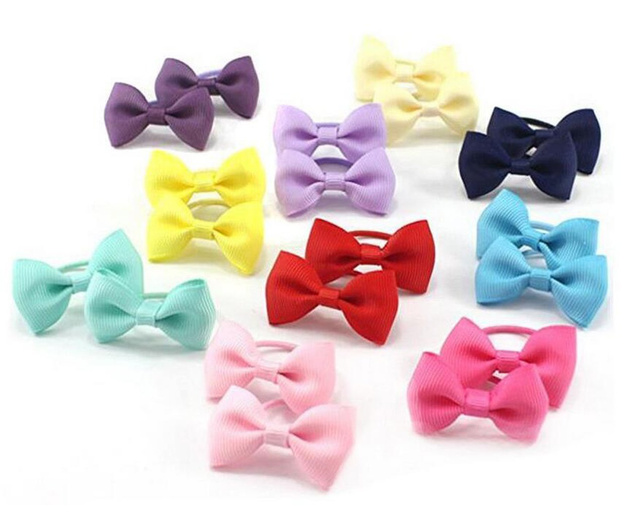Kids Baby Girls Ribbon Bow Knot Hair Bobble Elastic Band Pony Tail Clip School