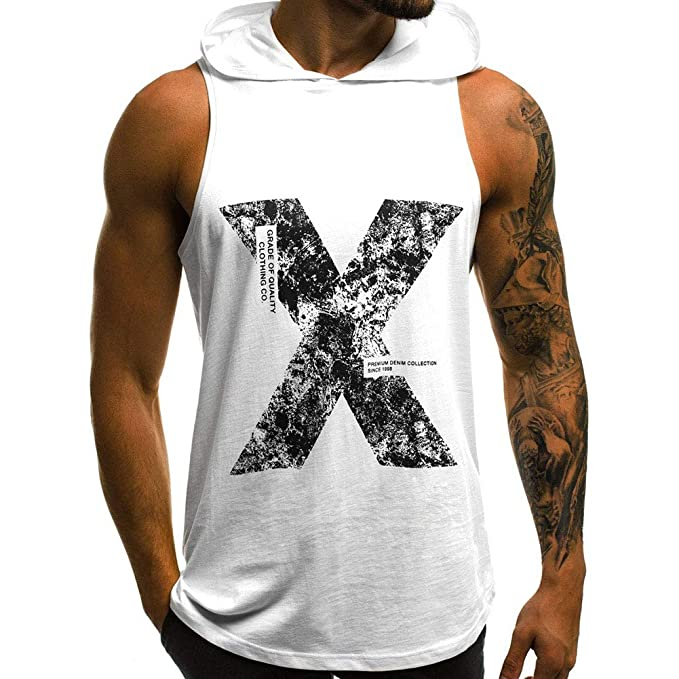 903a00ae257ba galmajLj Man  s Vest Cool Men X Print Summer Breathable Sleeveless Round  Neck Tank Top