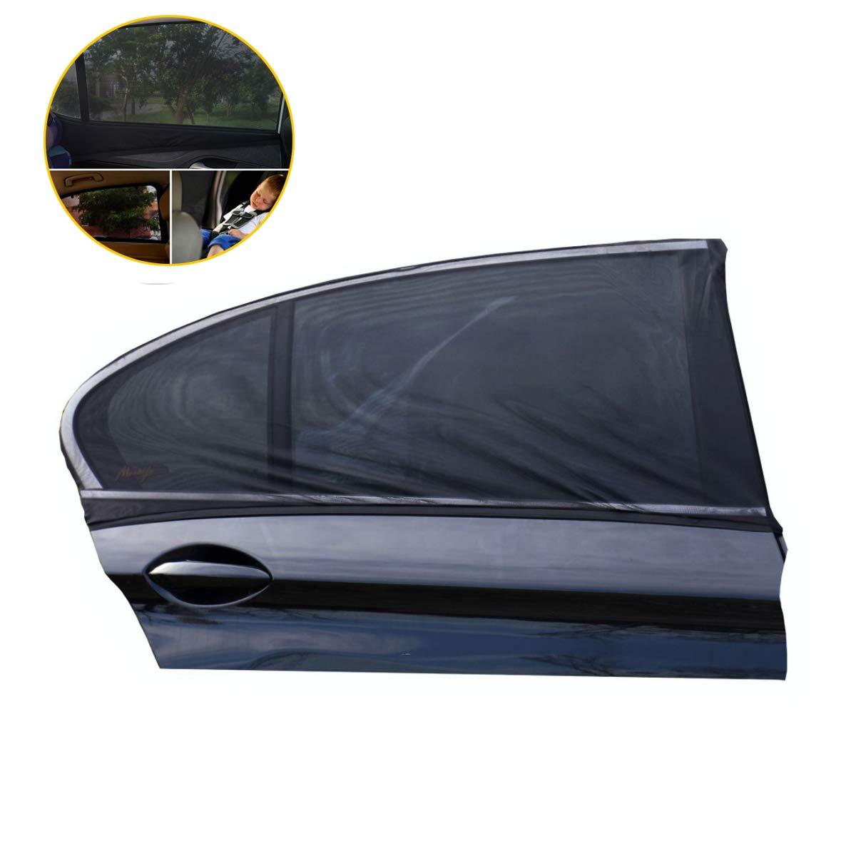 Black,120 * 50cm L window sunshade block UV anti-mosquito dustproof Child protection baby adult pet QJKJ 2 pieces Stroller sunshade portable car sunshade accessories