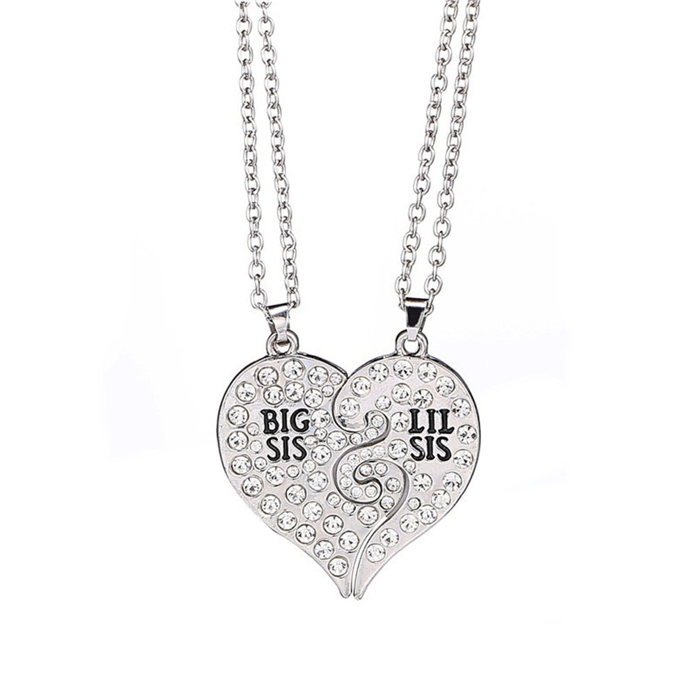 Gilroy 2Pcs Big Little Sister Letter Rhinestone Heart Matching Necklace Jewelry Gift