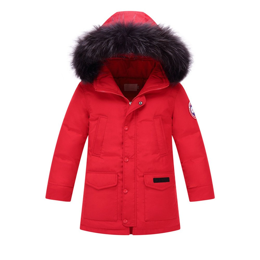 ZPW 2018 Boys Girls Goose Down Jacket Parka with Big Fur Trimmed Hoodie.