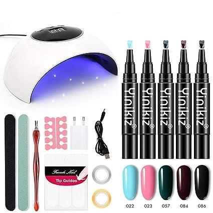 Kit de pluma de esmalte de uñas con gel con luz UV, MOGOI Kit de iniciación ...
