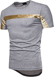 2018 New Men'sChest Bright Color Striped Half Sleeve Casual Long Section Sleeve Short-sleeve T-Shirts Tee Men's Wear