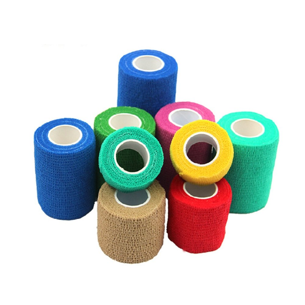 Gracefulvara 10 Pcs Adhesive Bandage Rolls Strong Elastic Adherent Tape First Aid Wrap Random Color (7.5CM)