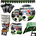 177 Piece Soccer Party Supplies Set Including Plates, Cups, Napkins, Spoons, Forks, Knives, Tablecloth and Banner, Serves 25
