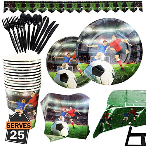 177 Piece Soccer Party Supplies Set Including Plates, Cups, Napkins, Spoons, Forks, Knives, Tablecloth and Banner, Serves 25 -