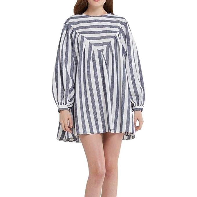 58ba007442 Amazon.com  Dress-Han Shi Womens Striped Print Cotton Party Beach Mini  Sundress  Clothing