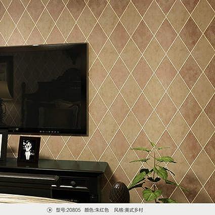 ACCEY Fondos de pantalla Estilo americano Rústico Vintage 3d Rombo Papel de pared para paredes Papel pintado de celosía no tejida Rollo TV Fondo Pared@Red_5.3㎡: Amazon.es: Bricolaje y herramientas